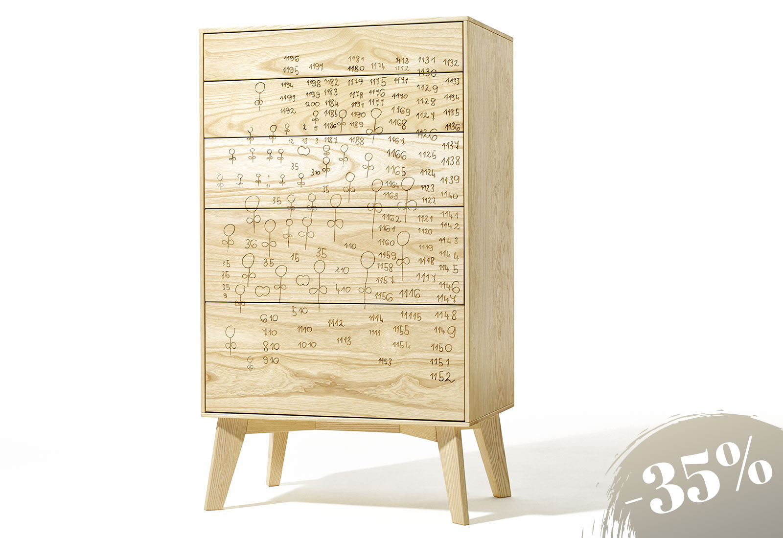 FINN Chest of drawers, ash with laser engraving